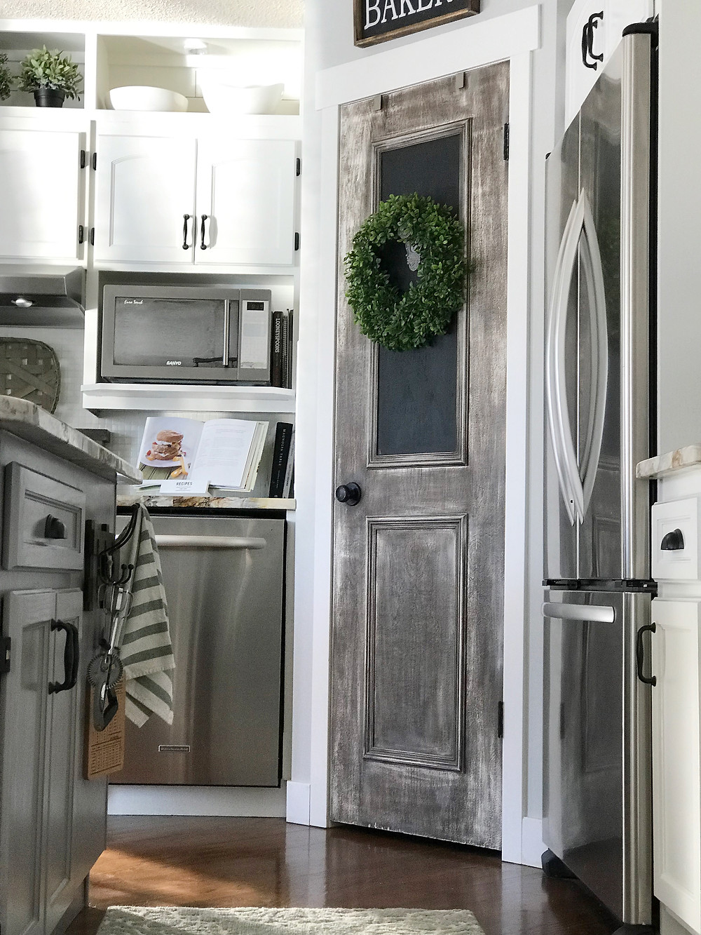 DIY Painted pantry door with an old aged look