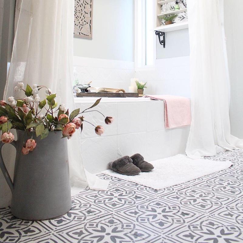 painted stenciled slate tile bathroom floors