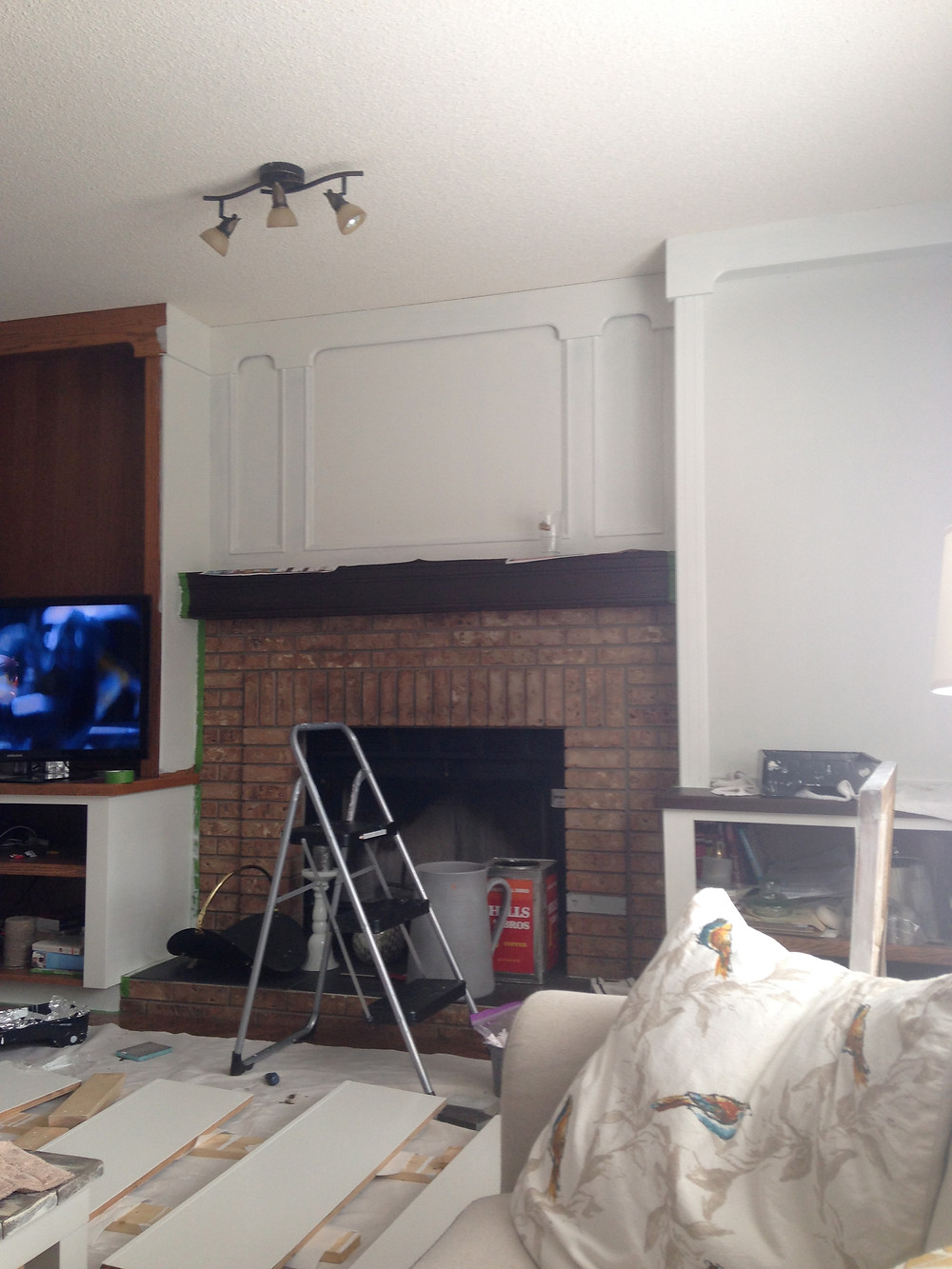 Fireplace Built Ins   Easy DIY White Paint
