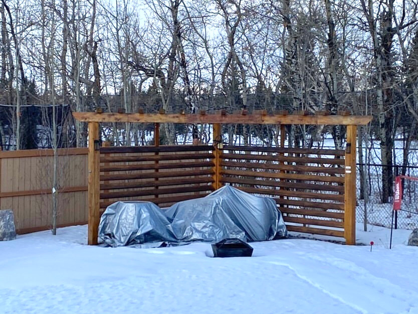 Patio E-Design Transformation Before | Snow Covered Patio Area in the Corner of a Yard
