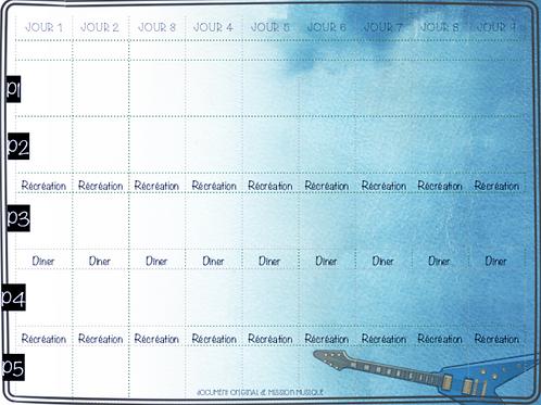 Horaire - Cycle - 9 jours - Bleu