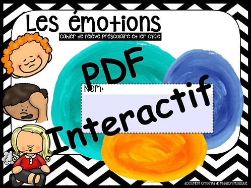 Les émotions préscolaire et 1er cycle - cahier de l'élève interactif