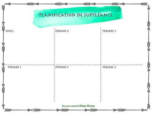 Planification de suppléance - Vert