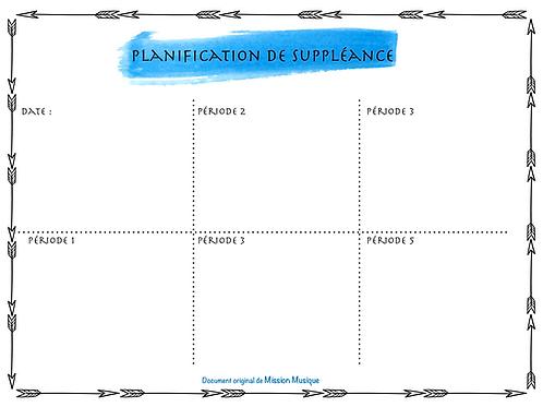 Planification de suppléance - Bleu