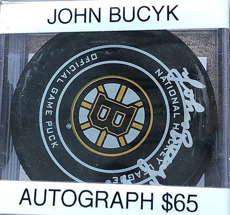 John Bucyk Bruins signed Puck Beckett certified