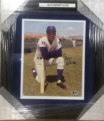 Ernie Banks Cubs signed custom frame 8x10 Beckett certified
