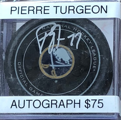 Pierre Turgeon Sabres signed Puck Beckett certified
