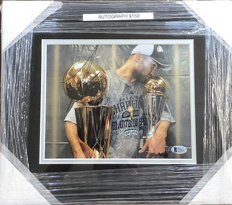Tony Parker Spurs signed custom frame 8x10  Beckett certified