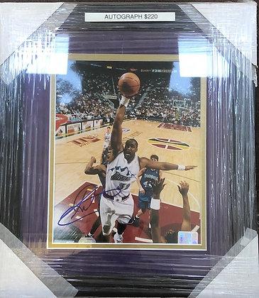 Karl Malone Jazz signed custom frame 8x10 Beckett certified