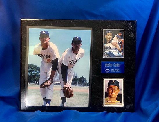 Don Drysdale & Sandy Koufax Dodgers 12x15 sports plaque