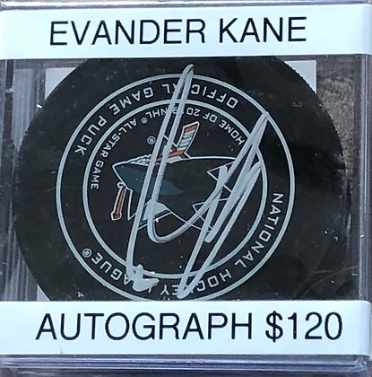 Evander Kane Sharks signed Puck Beckett  certified