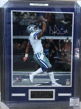 Dak Prescott Cowboys  signed  Custom Framed 16x20 Beckett certified