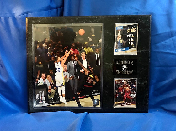 Stephen Curry vs Lebron Warriors 12x15 sports plaque