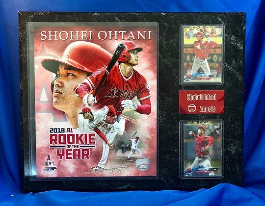 Shohei Ohtani w 2 Rookies 12x15 sports plaque