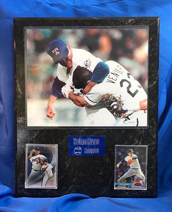 "Nolan Ryan vs Ventura ""fight"" Rangers 12x15 sports plaque"
