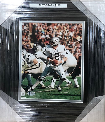Ken Stabler Raiders signed custom frame 8x10 Beckett certified