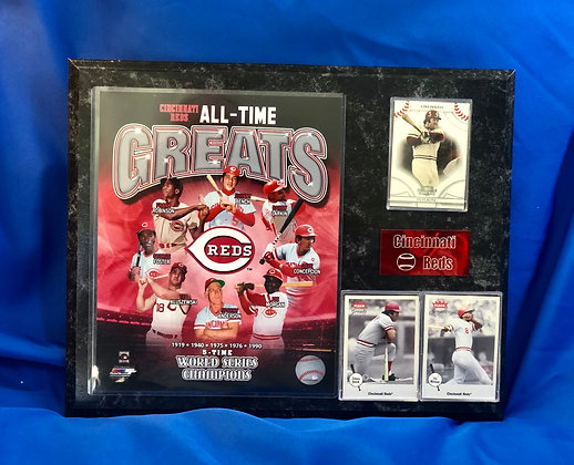 Reds All-Time Greats Rose Bench 12x15 sports plaque
