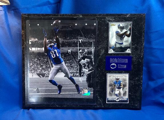 Calvin Johnson Lions 12x15 sports plaque