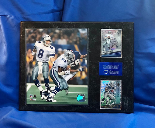 Troy Aikman & Emmitt Smith Cowboys 12x15 sports plaque