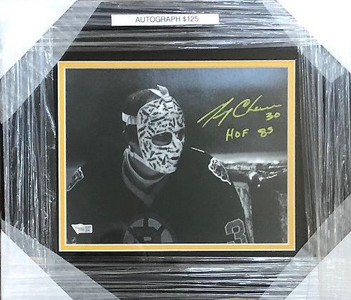 Gerry Cheevers Bruins signed custom frame 8x10 Fanatics certified