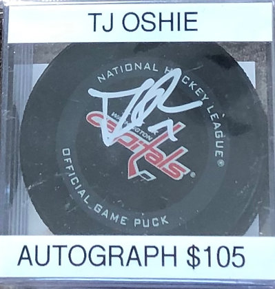 TJ Oshie Capitals signed Puck Beckett certified