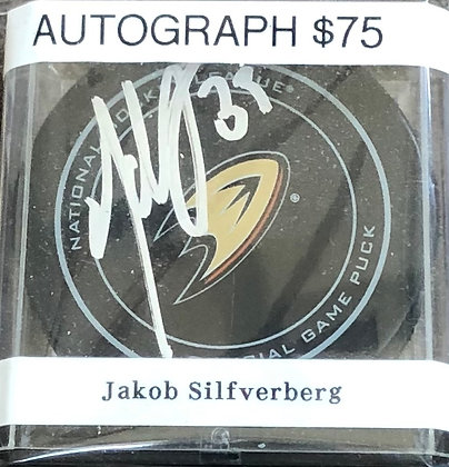 Jakob Silfverberg Ducks signed Puck Beckett certified