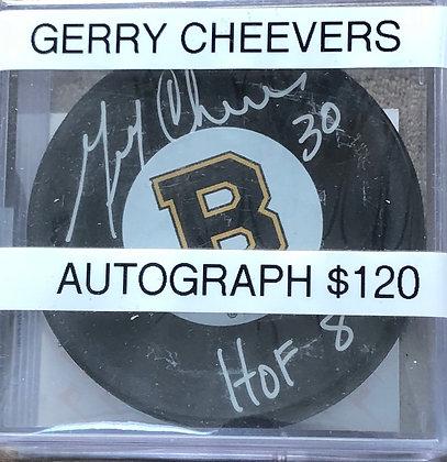 Gerry Cheevers Bruins signed Puck Beckett certified