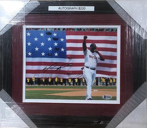 David Ortiz Red Sox signed custom frame 8x10 Beckett certified