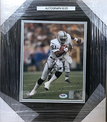 Tim Brown Raiders signed custom frame 8x10 PSA certified