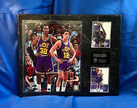 Karl Malone & John Stockton Jazz 12x15 sports plaque