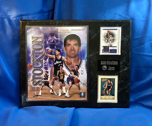 John Stockton w Game jersey card 12x15 sports plaque