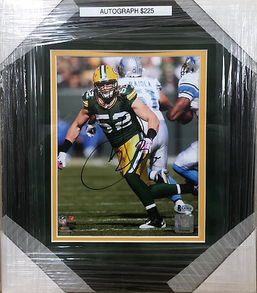 Clay Matthews Packers signed custom frame 8x10  Beckett certified