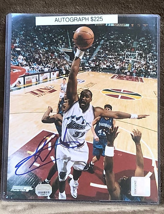 Karl Malone Jazz signed 8x10 unframed Photo Mounted Memories certified
