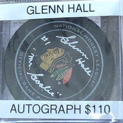 Glenn Hall Blackhawks signed Puck PSA/DNA certified