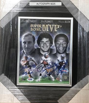Super Bowl MVPs Raiders signed custom frame 8x10 PSA certified