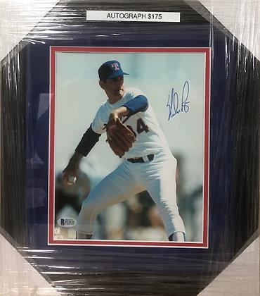 Nolan Ryan Rangers signed custom frame 8x10 Beckett certified