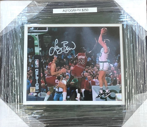 Larry Bird Celtics signed custom frame 8x10  Beckett certified