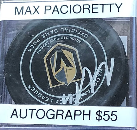 Max Pacioretty Vegas Knights signed Puck Beckett certified