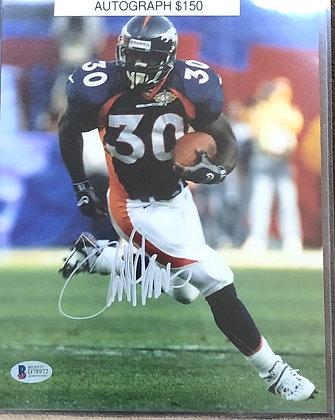 Terrell Davis Broncos signed 8x10 unframed Photo Beckett certified