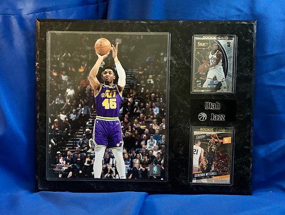 Donovan Mitchell Jazz w 2 Rookie cards 12x15 sports plaque