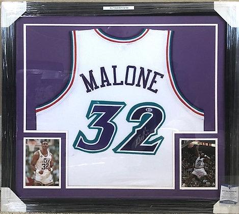 Karl Malone Jazz signed  Jersey Custom Framed Beckett certified