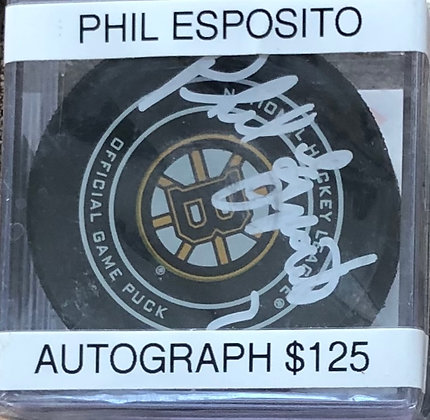 Phil Esposito Bruins signed Puck Beckett certified