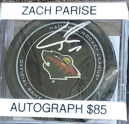 Zach Parise signed Puck Beckett certified