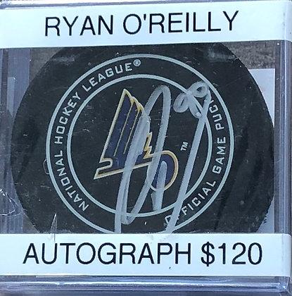 Ryan O'Reilly Blues signed Puck Beckett certified