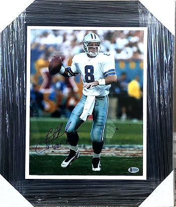 Troy Aikman Cowboy signed frame 11x14 Beckett certified