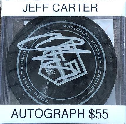 Jeff Carter Kings signed Puck Beckett  certified