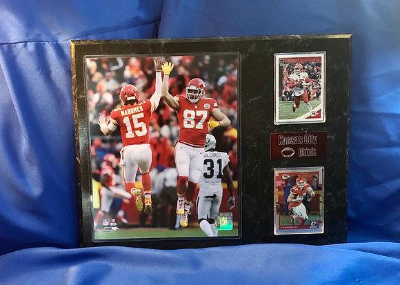 Patrick Mahomes & Travis Kelce Chiefs 12x15 sports plaque