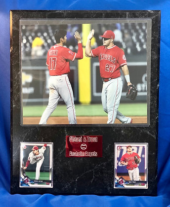 Mike Trout & Shohei Ohtani Angels w rookie 12x15 sports plaque