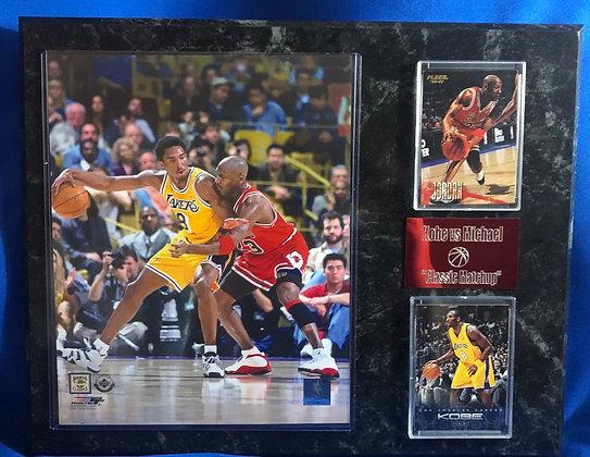 Kobe vs Jordan 12x15 sports plaque Lakers vs Bulls
