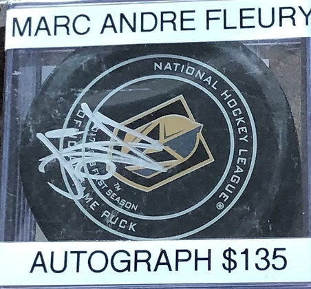 Marc Andre Fleury Vegas Knights signed Puck Beckett  certified